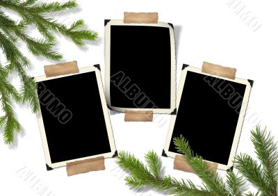 Photo-framework retro and Christmas tree