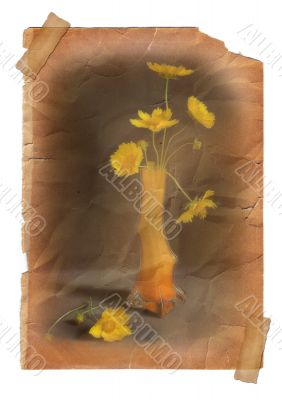 Yellow flower in vase - vintage effect