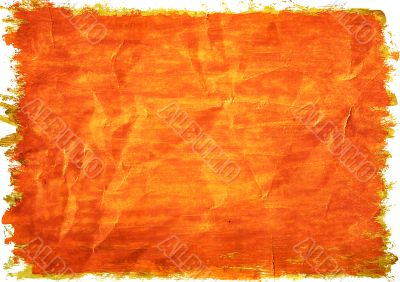 Orange paint on a crushed paper.