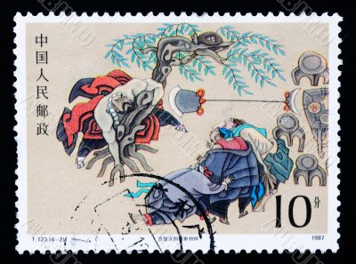 A stamp printed in China shows ancient story of The Water Margin