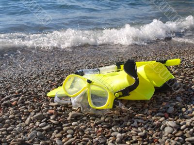 Mask, fins, and snorkel