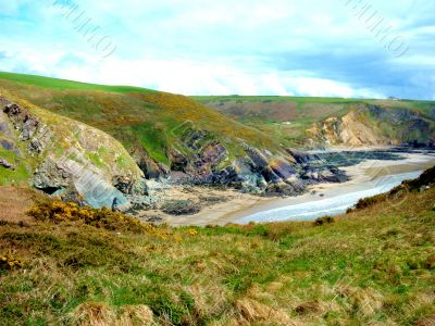 Grassy Hills And Beach Wales