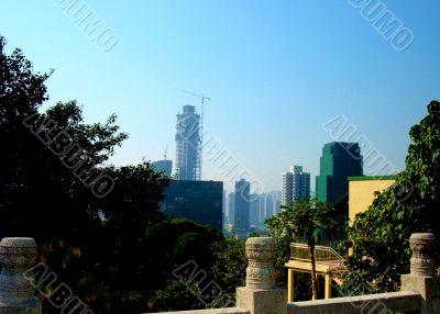 Crane In City Skyline