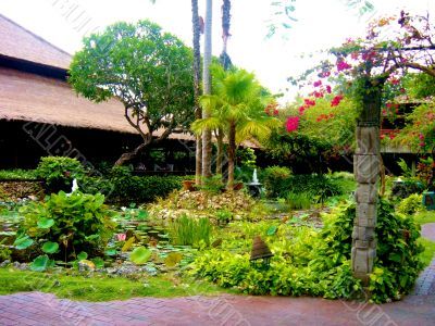 Peaceful Asian Garden With Pond