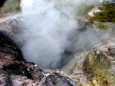 Volcanic Pit And Steam