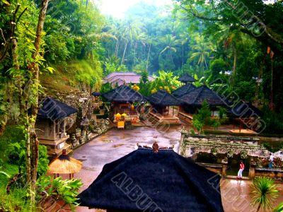 Asian Huts In Jungle