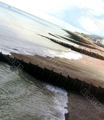 Great Angled Shot Of A Traditional Southern England Beach