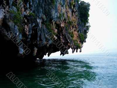 Overhanging Cliff Above Sea