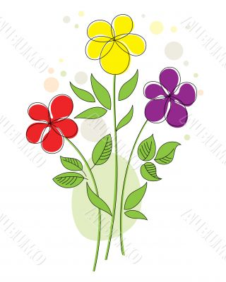 Colorful background with abstract flowers
