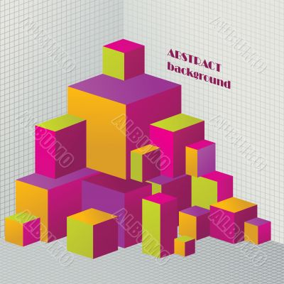 Abstract colored 3D cubes illustration for design
