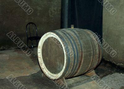 Old wine barrels, wine cellar
