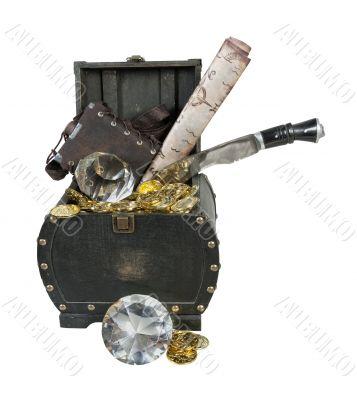 Treasure, Gold, Diamonds Dagger in a Wooden Trunk
