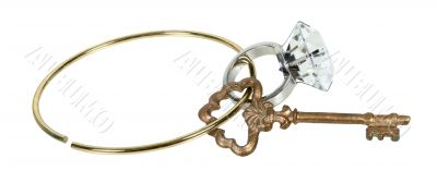 Engagement Ring and Vintage Key on Key Ring