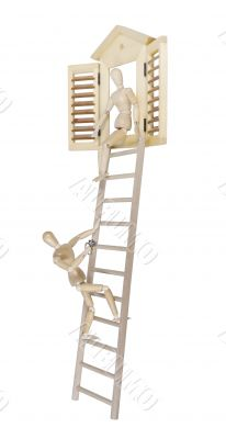 Proposal Climbing on Ladder with Diamond Ring