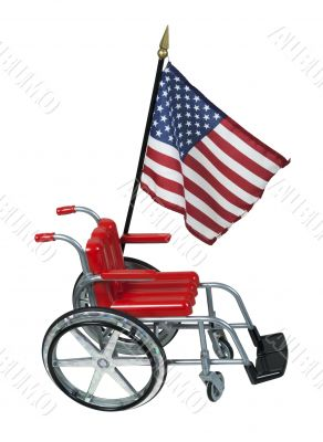 American Flag and Wheelchair