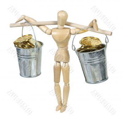 Balancing Buckets Filled With Gold Coins