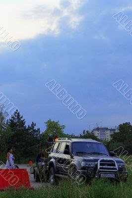 Auto car that carry hot air hot air baloon