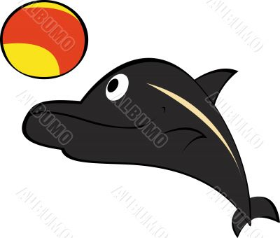 Dolphin playing ball. Vector. Easy to edit