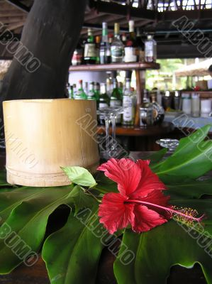 Hibiscus flower and bamboo ashtray