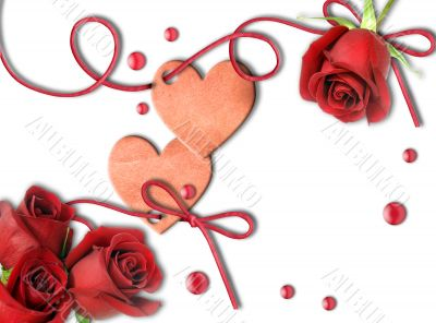 Vintage heart and red roses