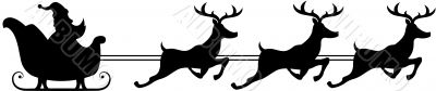 silhouette of a santa claus riding sleigh