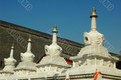 White towers in a Tibetan lamasery