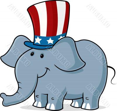 elephant wearing uncle s sam hat