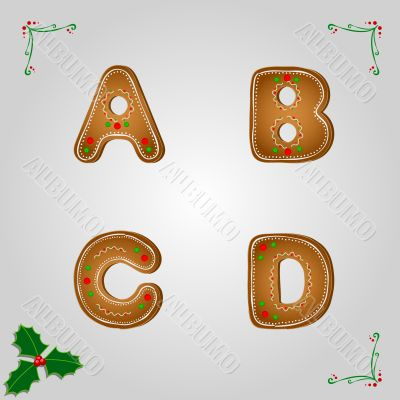 Gingerbread font a to d