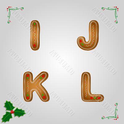 Gingerbread font i to l