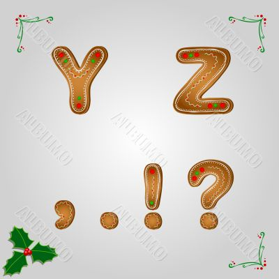 Gingerbread font y and z