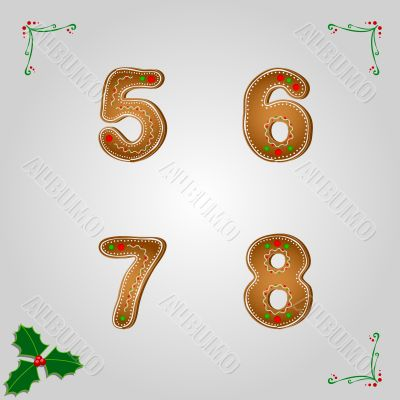 Gingerbread numbers 5 to 8