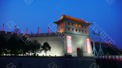 Night scenes of the famous city wall of Xian