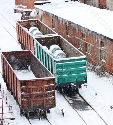 Railway carriages in the industrial area
