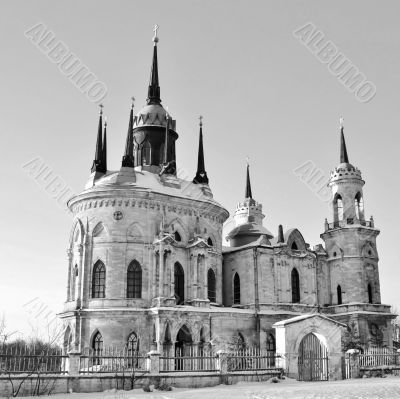 White stone church built in russian gothic style