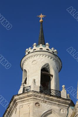 top of a church built in russian gothic style