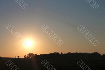 Sunrise over the summer meadow. North caucasus landscapes