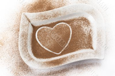 cocoa powder with heart shape trace