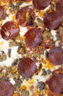 cropped image of pepperoni pizza