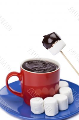 cup of chocolate with white mallows