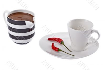 cup of chocolate and chilly pepper