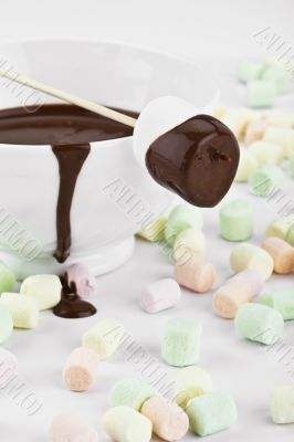 marshmallow  with melted chocolate