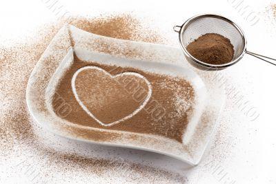 heath shape made of coffee beans