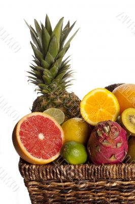 cropped image of fruits in wicker basket