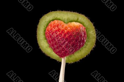 designed kiwi shelf and strawberry on stick