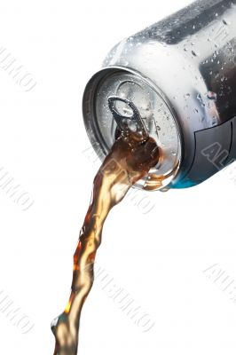 pouring soft drinks in can