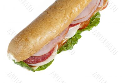 cropped image of a ham sandwich
