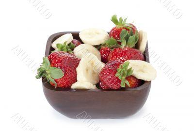 raspberries bowl with slice bananas
