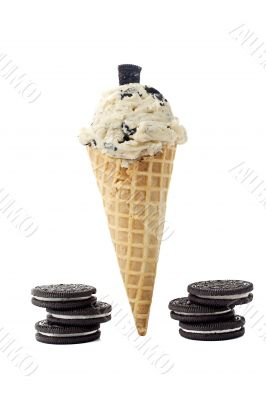 cookie ice cream on a cone