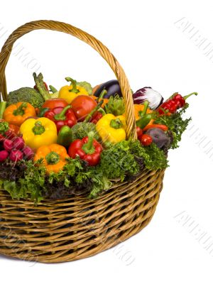 basket arrangement full of vegetables