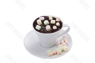 marshmallows dipped into melted chocolate cup
